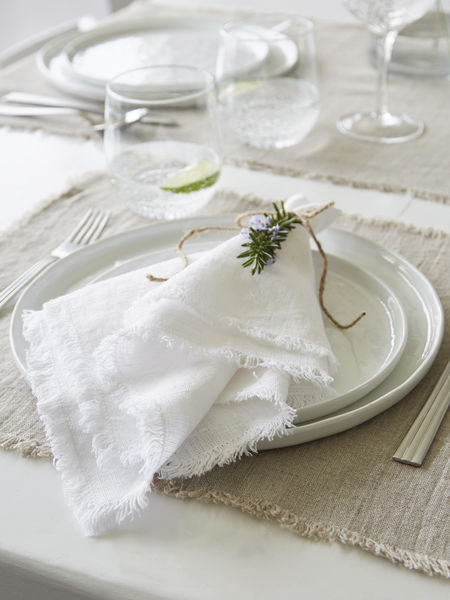 White Frayed Edge Linen Napkins