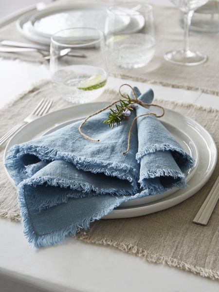 Teal Frayed Edge Linen Napkins
