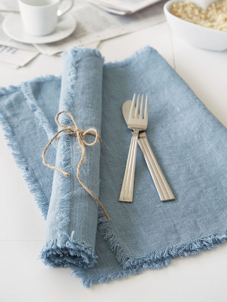 Teal Frayed Edge Linen Placemats