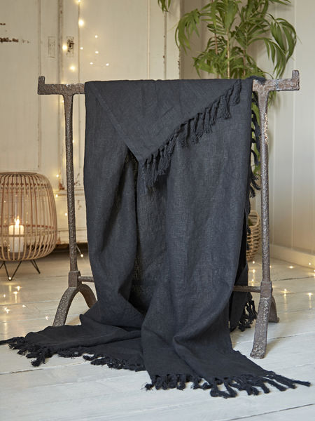 Fringed Linen Throw - Black