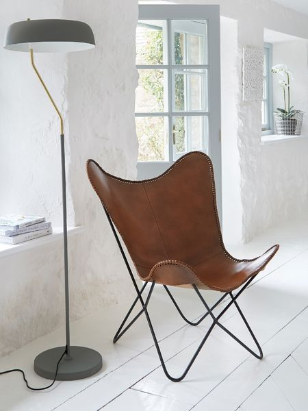 Luxe Leather Butterfly Chair - Brown