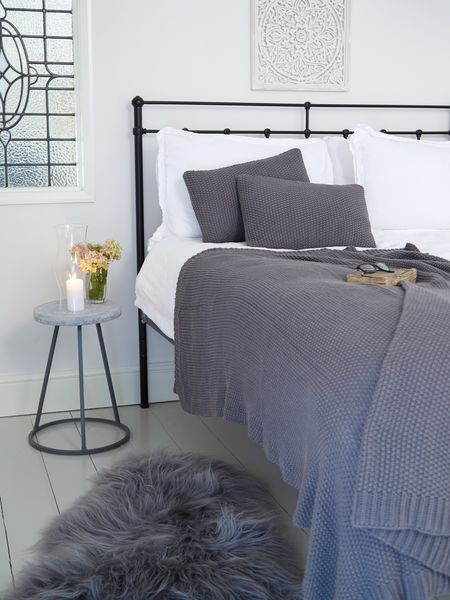 Textured Grey Throw