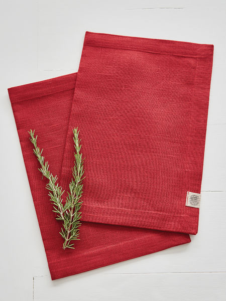 True Red Linen Placemats - Set of 2