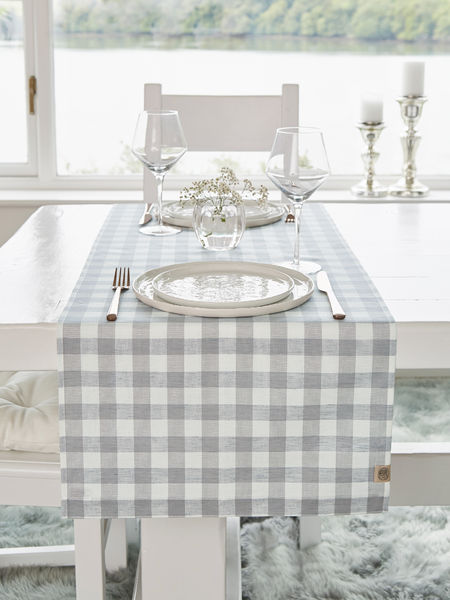 Linen Mix Table Runner - Light Grey Check