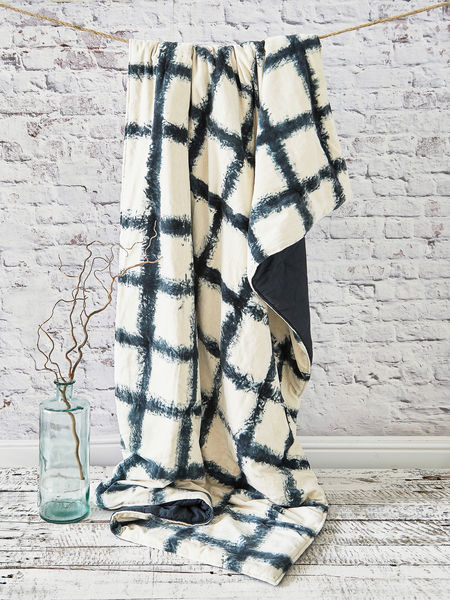 Tie-Dyed Velvet Quilted Throw - Broad Stripe