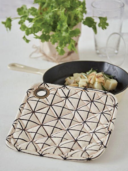 Geometric Print Pot Holder - Ivory