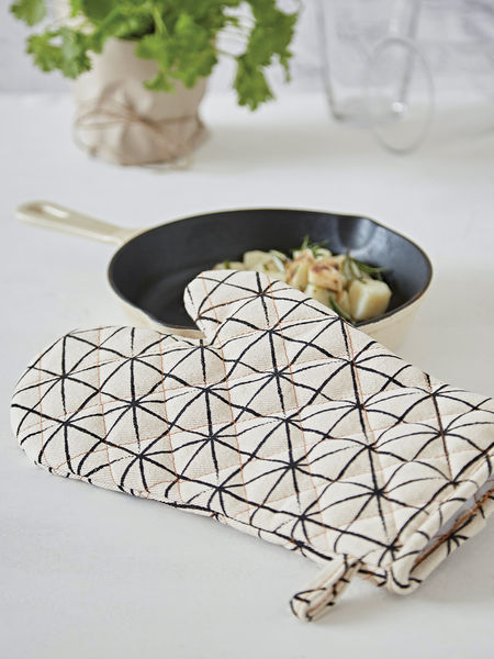 Geometric Print Oven Gloves - Ivory