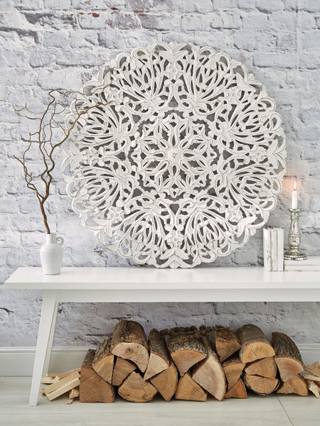 Large Carved Wall Panel Round Carved Wall Panel Nordic