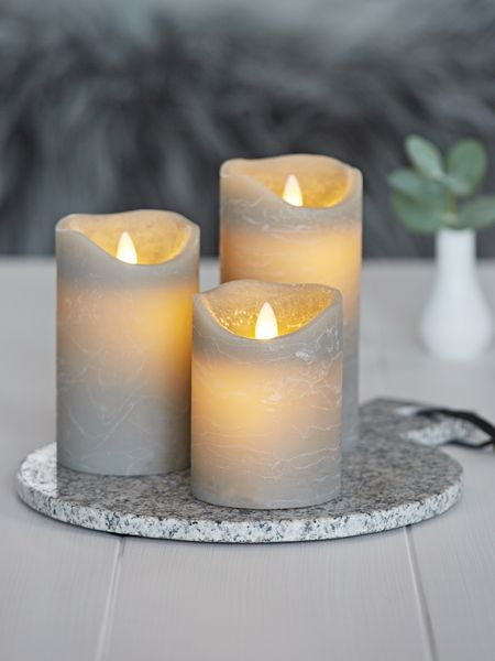 Grey LED Pillar Candle