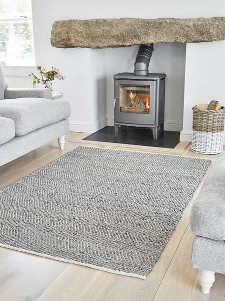 Chevron Leather and Cotton Rug