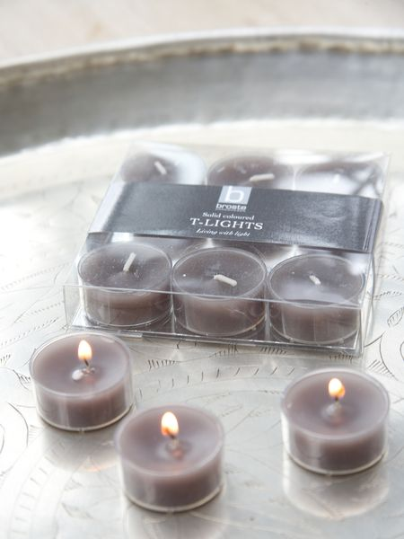 Dark Linen Clear Cup Tealights