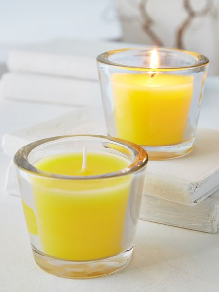 Yellow Glass Candle Votive