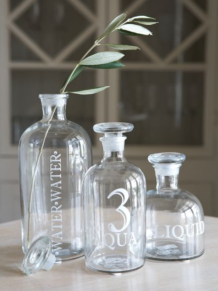 Retro Glass Display Bottles - White Print