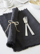 Black Frayed Edge Linen Placemats