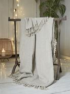 Fringed Linen Throw - Natural