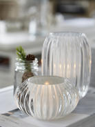 Rilled Glass Tealights - White