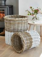 White Dipped Basket Set