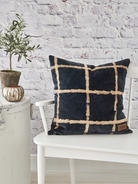 Tie-Dyed Velvet Cushion - Midnight Blue