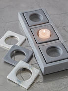 Triple Ceramic Tealight Holder - Grey