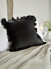 Linen Ruffle Edge Cushion - Black