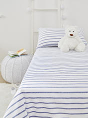Yarn-Dyed Kids Bed Set - Blue