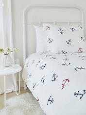 Bed Set Nautical Anchors - Navy/Red