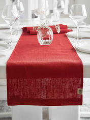 Long Linen Table Runner - True Red