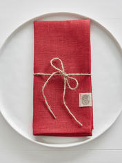 True Red Linen Napkins - Set of 2