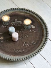Round Vintage Tray - Taupe