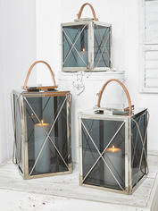 Smoked Glass and Leather Strap Lanterns