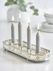 Silver Mirrored Candle Holder
