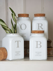 White Ceramic Herb Jars