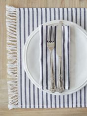 Dark Blue Striped Table Linens