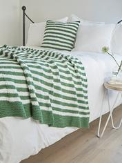 Knitted Throw - Green & White