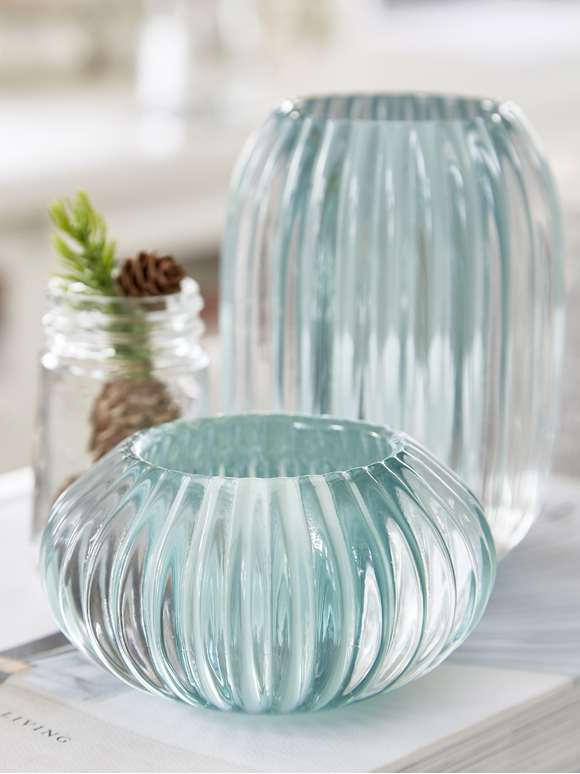 Rilled Glass Tealights - Sea Green