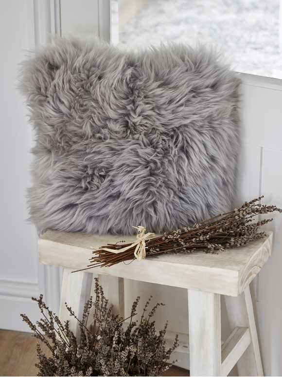 Luxurious Sheepskin Cushion - Light Grey