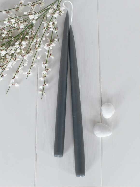 Tapered Dinner Candles - Charcoal Grey