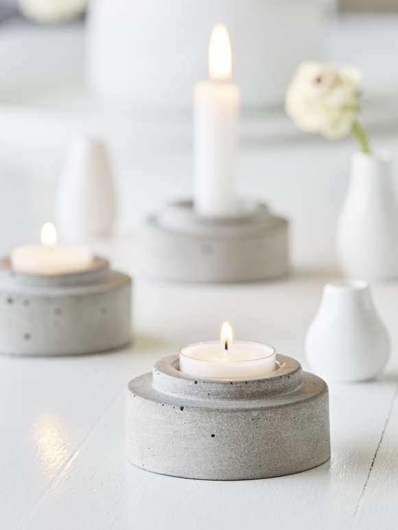 Concrete Candle Holder Set