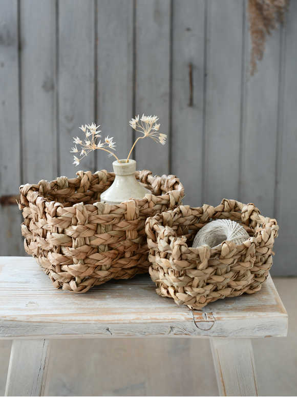 Rustic Straw Basket Set