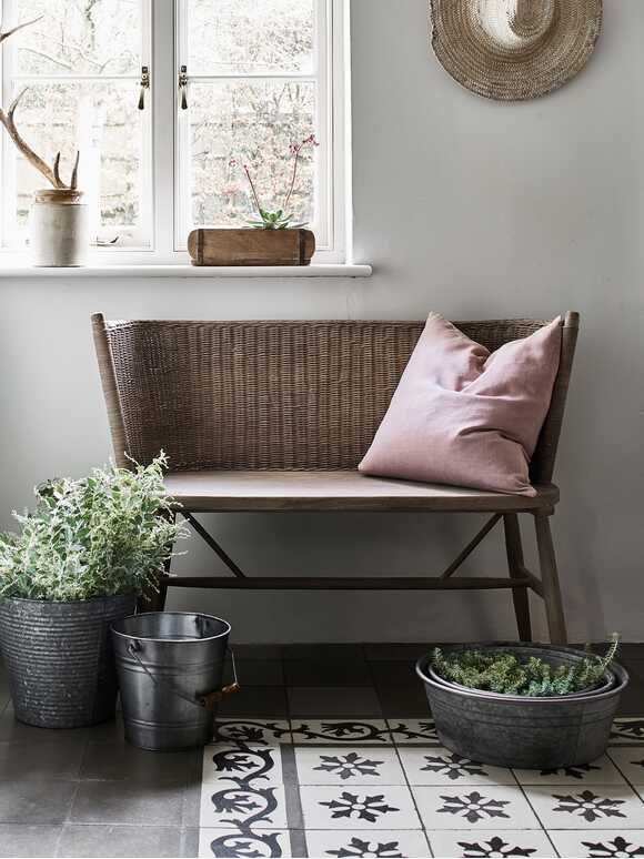 Curved Rattan Bench