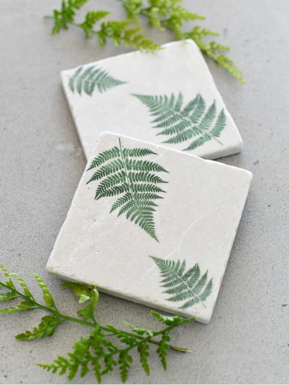 Natural Stone Coasters - Forest Fern