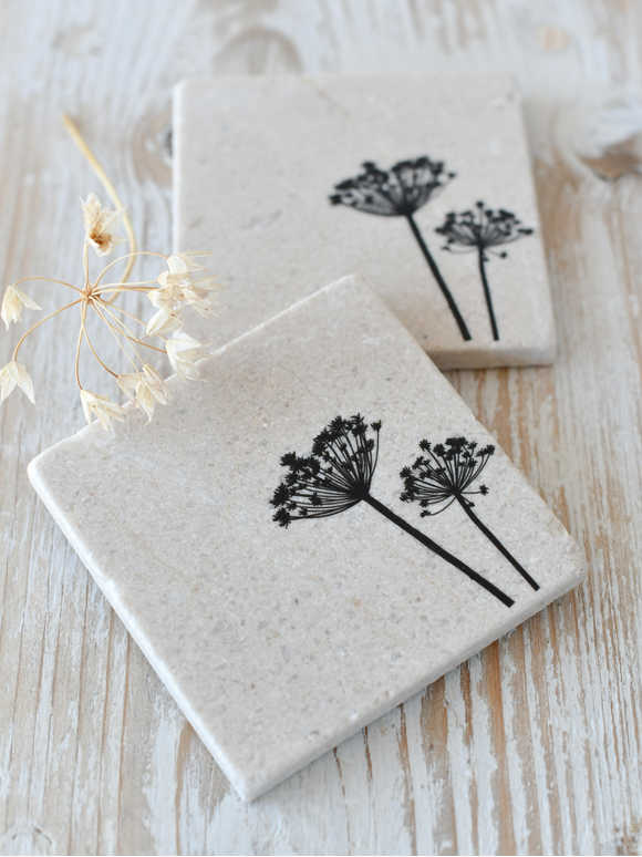 Natural Stone Coasters - Cow Parsley