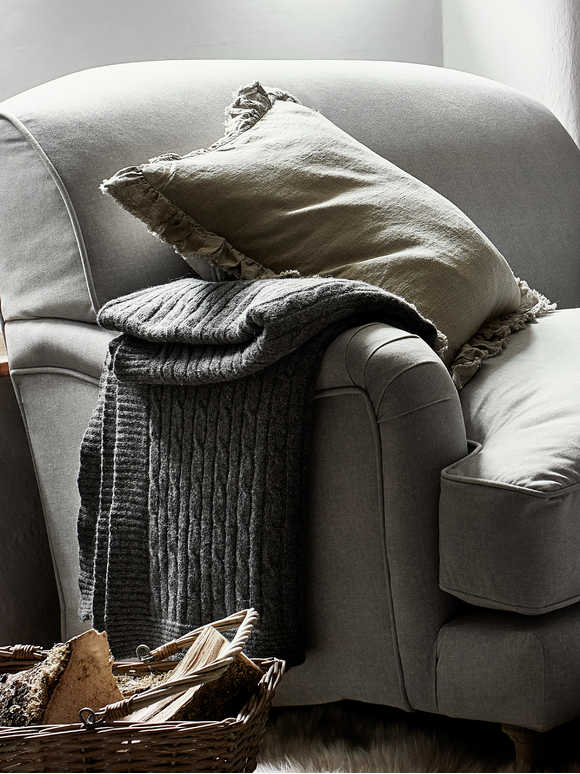 Soft Grey Woollen Throw