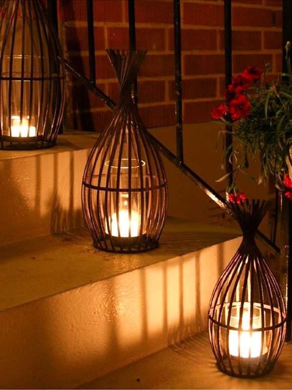 Rusty Metal Hurricane Lamps