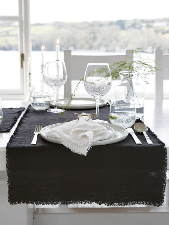 Black Frayed Edge Linen Table Runner