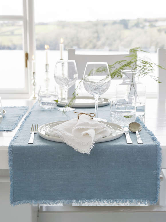 Teal Frayed Edge Linen Table Runner