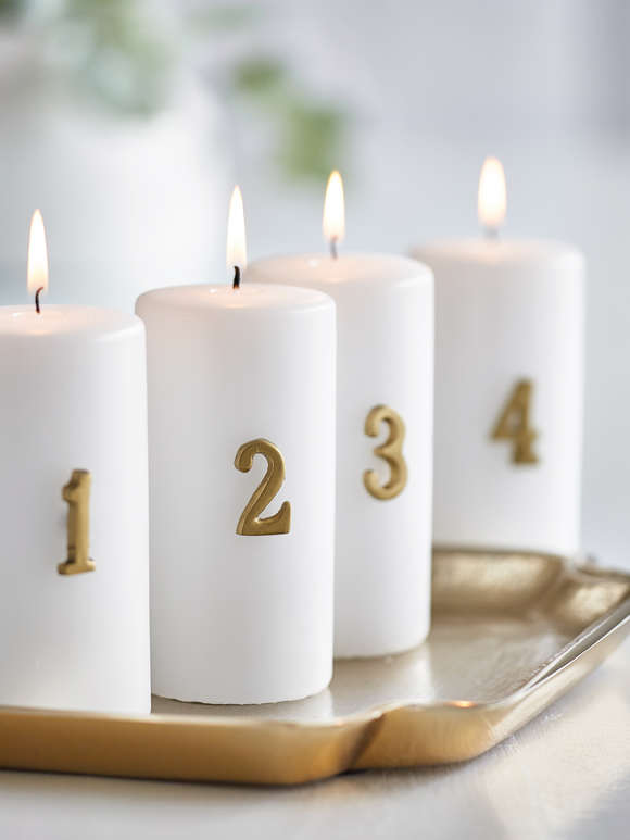 Distressed Gold Advent Candle Pin Set
