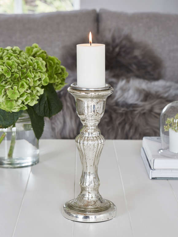 Mercury Silver Pillar Candle Holder - L