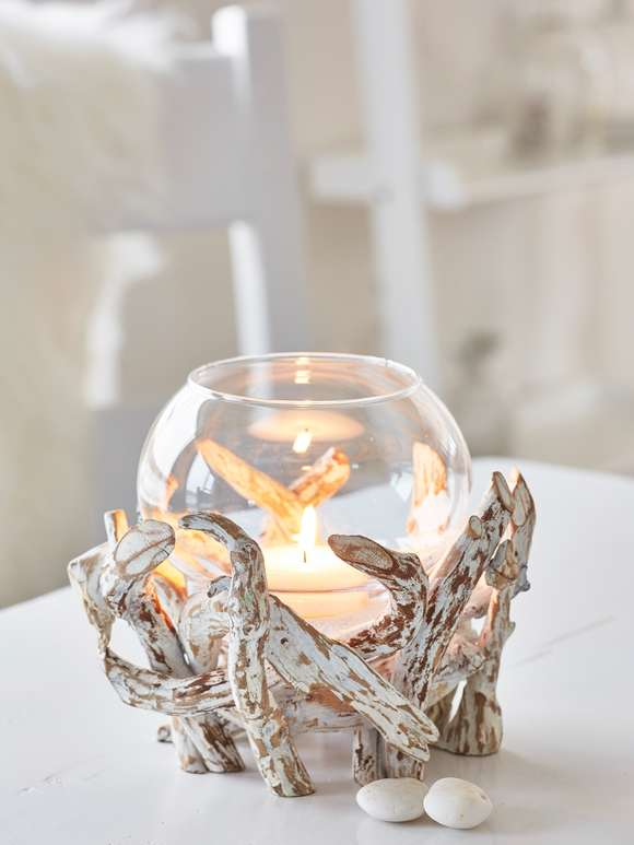 Whitewashed Driftwood Tealight Hurricane