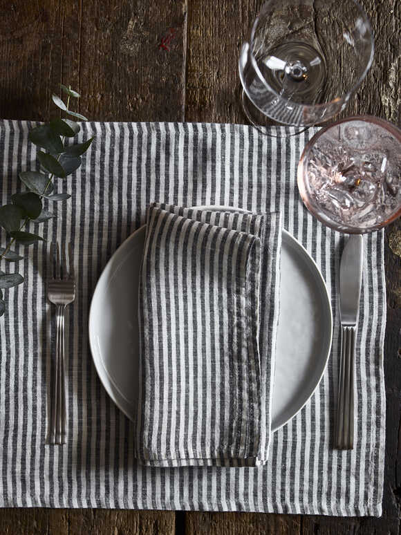 Black Stripe Linen Placemats